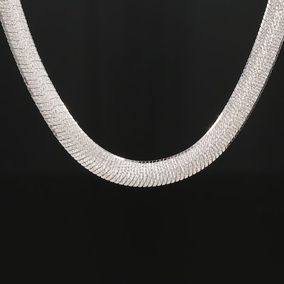 Sterling Silver Textured Herringbone Chain