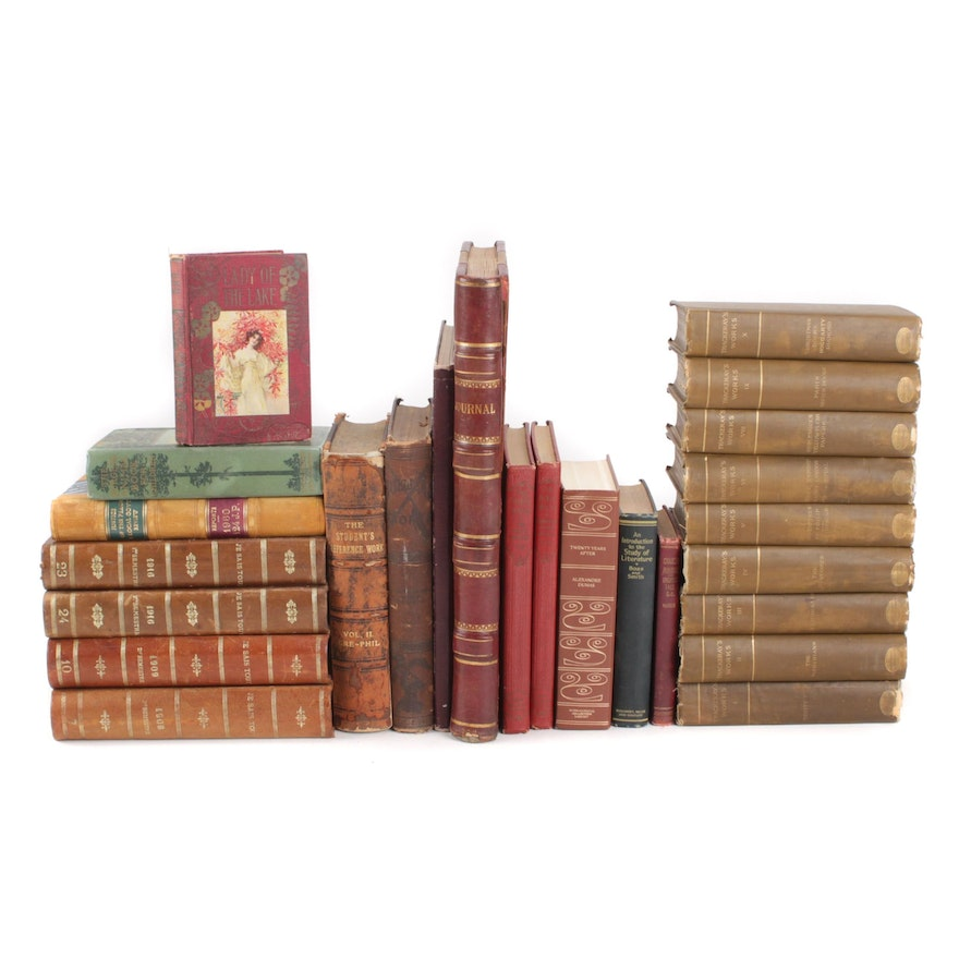 Bound French Periodicals, English Literary Works, and Handwritten Farm Ledger