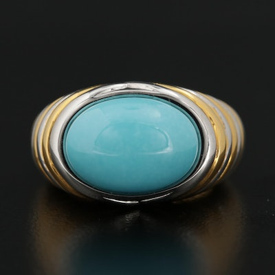 14K Yellow and White Gold Turquoise Ring