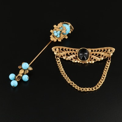 Vintage Miriam Haskel Glass Stick Pin and Brooch