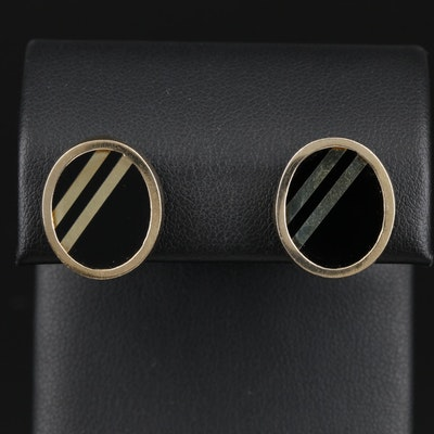 14K Yellow Gold Black Onyx Earrings