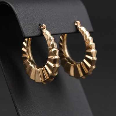 14K Yellow Gold Fluted Hoop Earrings