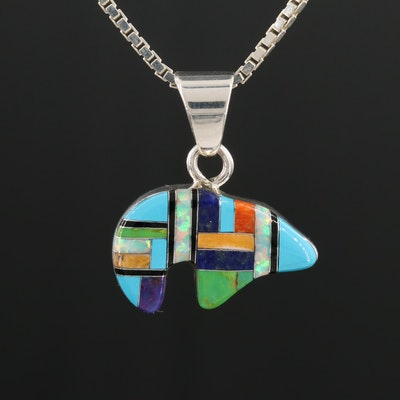 Southwestern Style Sterling Lapis, Coral, and Gaspeite Inlay Bear Necklace