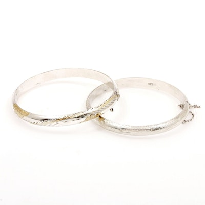 Sterling Silver Hinged Bangle Bracelets with Engraved Designs
