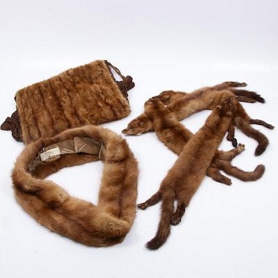 Mahogany Mink Fur Collar, Muff, and Full Pelt Stole
