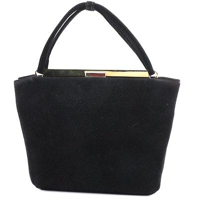 Donna Karan New York Black Suede Frame Handbag