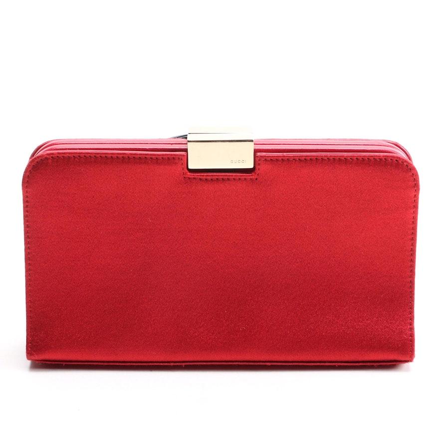 Gucci Red Satin Frame Clutch