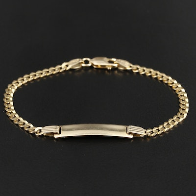 14K Yellow Gold ID Bracelet with Curb Chain