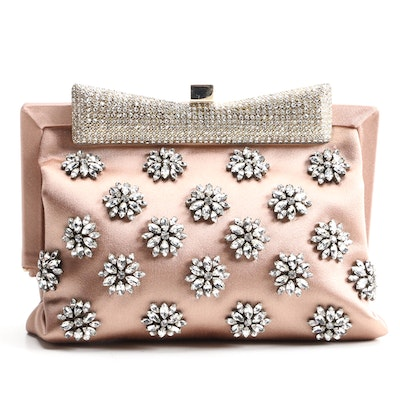 Valentino Hand-Embellished Crystal and Blush Satin Clutch