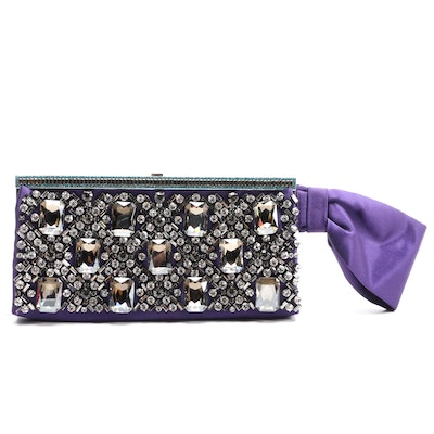 Valentino Garavani Rhinestone Embellished Purple Satin Bow Clutch