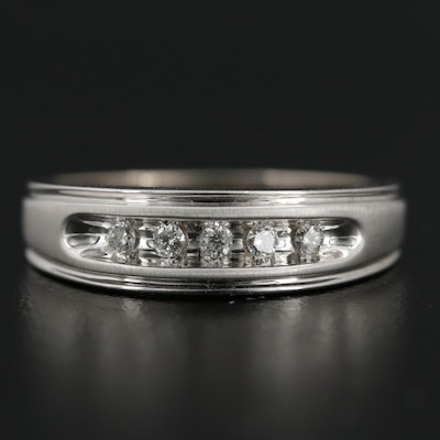 14K White Gold Diamond Channel Ring