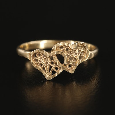 14K Yellow Gold Double Heart Ring