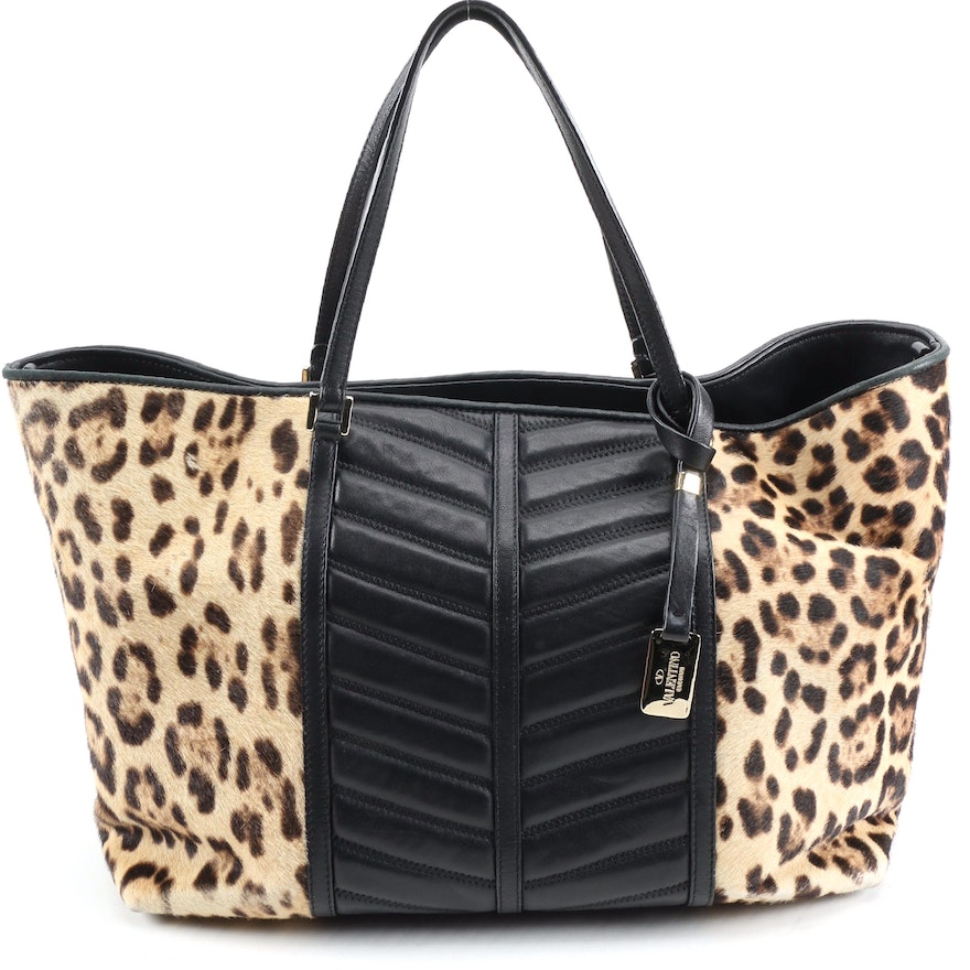 Valentino Animal Print Calf Hair and Black Leather Tote