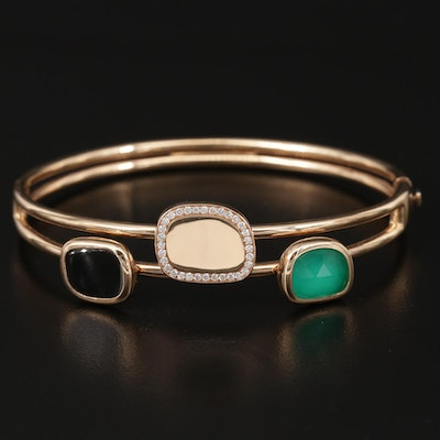 Roberto Coin 18K Chalcedony, Black Onyx and Diamond Hinged Bangle