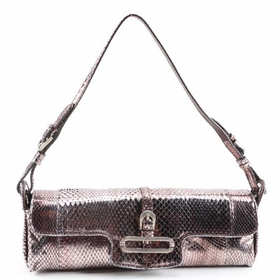 Jimmy Choo Metallic Snakeskin Baguette with Dust Bag Signed by Susan Lucci