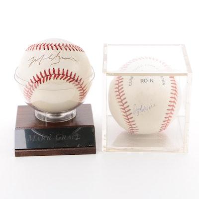 Mark Grace and Bob Will Signed National League Baseballs   COA