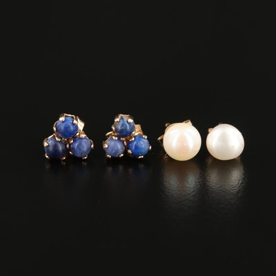 14K Yellow Gold Cultured Pearl and Lapis Lazuli Earrings