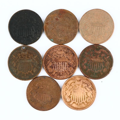 Eight Bronze U.S. Two-Cent Shield Coins