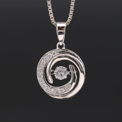 Sterling Silver Cubic Zirconia Swirl Necklace with Floating Center