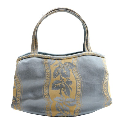 Manolo Blahnik Foliate Satin Handbag with Susan Lucci Signed Dust Bag