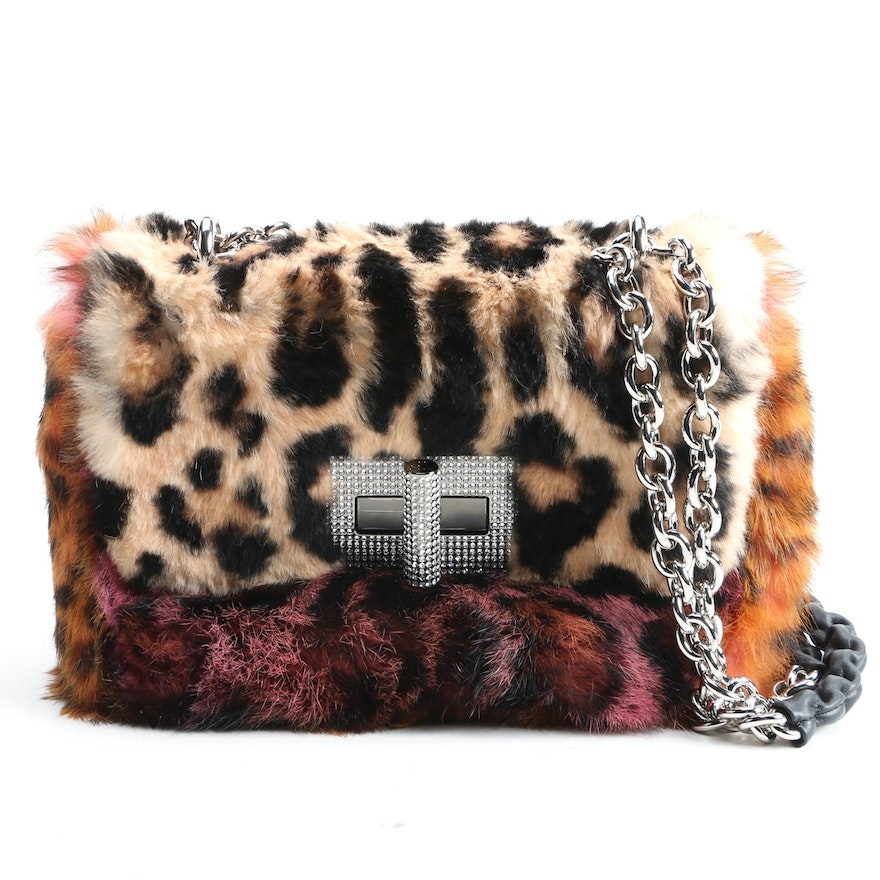 Tom Ford Animal Print Dyed Rabbit Fur Shoulder Bag with Crystal Encrusted Clasp