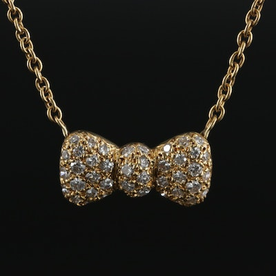 Van Cleef and Arpels 18K Yellow Gold 1.25 CTW Diamond Bow Pendant Necklace