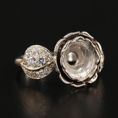 A. Ananov Russian 18K White Gold Diamond Semi-Mount Floral Ring