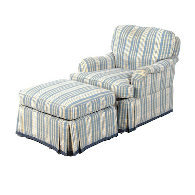 Pearson Furniture Blue, Yellow, and White Plaid Armchair and Ottoman