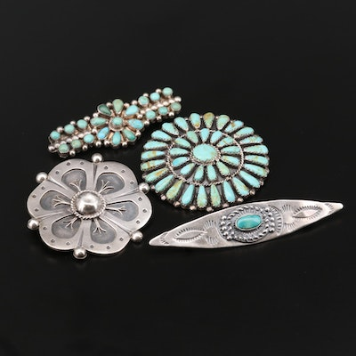 Southwestern Sterling Turquoise Brooches and Taxco 980 Silver Brooch