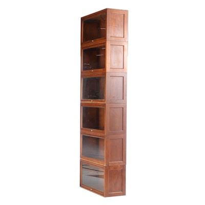 Six Walnut Barrister's Bookcase Sections, Mid-20th Century