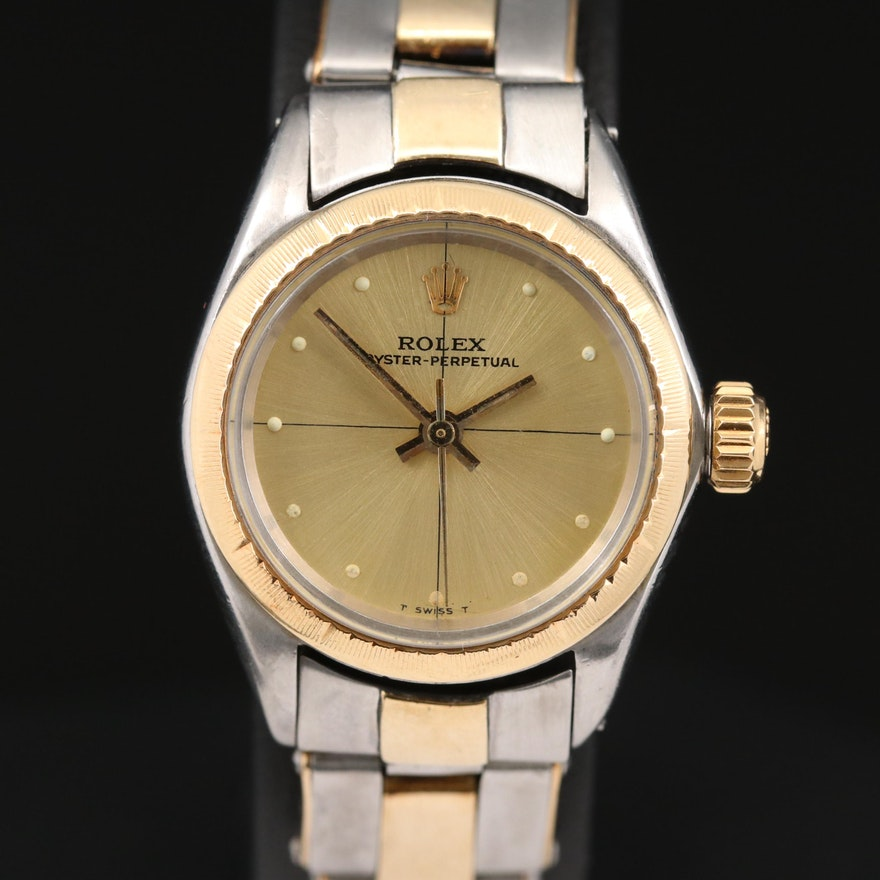 Rolex Oyster Perpetual Zephyr 18K Gold and Stainless Steel Wristwatch, Vintage
