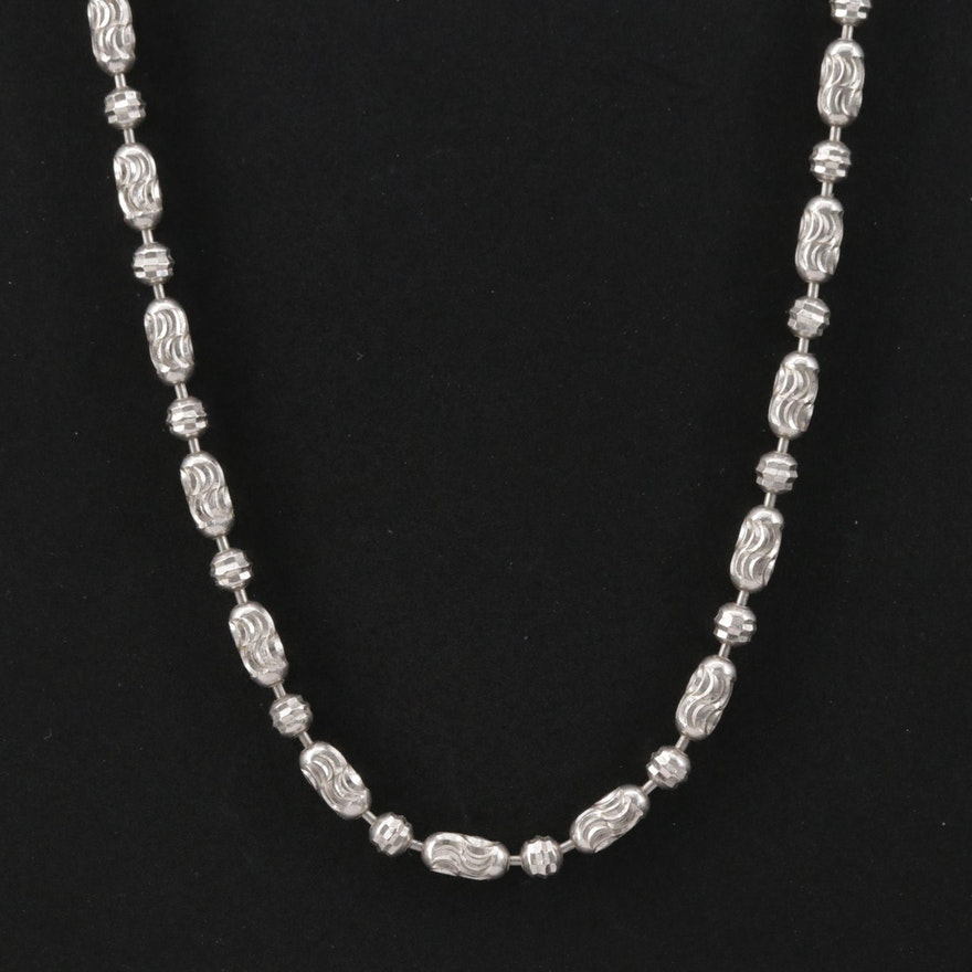 14K Gold Bead Chain Necklace with Diamond Cut Finish
