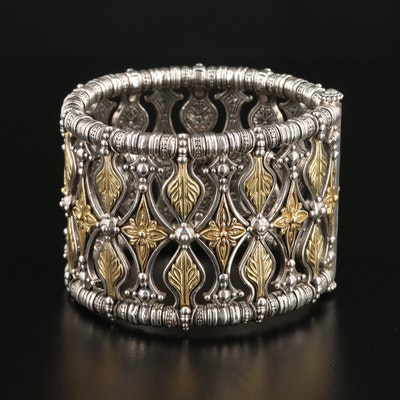 Konstantino Sterling Silver Bracelet with 18K Gold Floral Accents