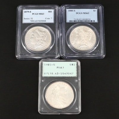 Three PCGS Graded MS63 Silver Morgan Dollars Including an 1879-S