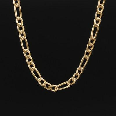 Italian 14K Yellow Gold Figaro Chain Necklace