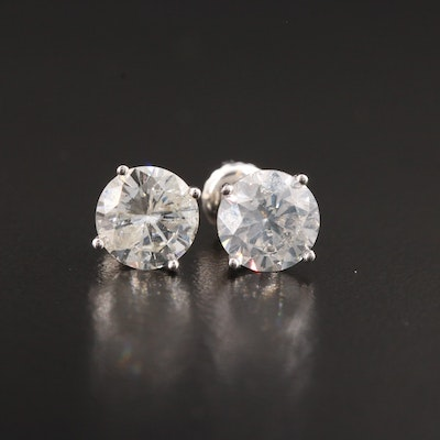 14K White Gold 2.76 CTW Diamond Solitaire Stud Earrings