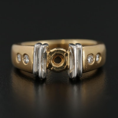 18K Gold and Platinum Diamond Semi Mount Ring
