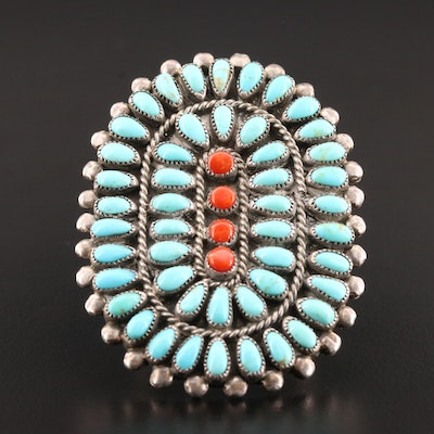 Vintage Valentino and Matilda Banteah Zuni Sterling Turquoise and Coral Ring