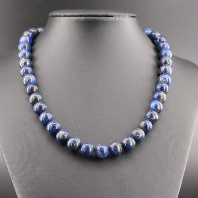 Lapis Lazuli Beaded Necklace with 14K Yellow Gold Clasp