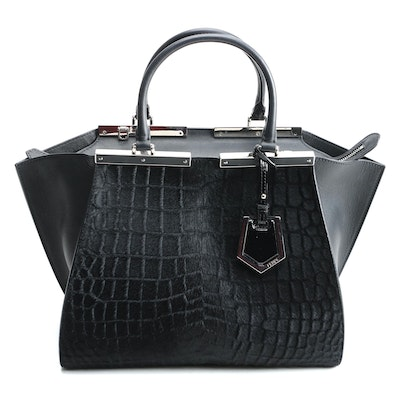 Fendi 3Jours Embossed Calf Hair Leather Tote with Susan Lucci Signed Dust Bag