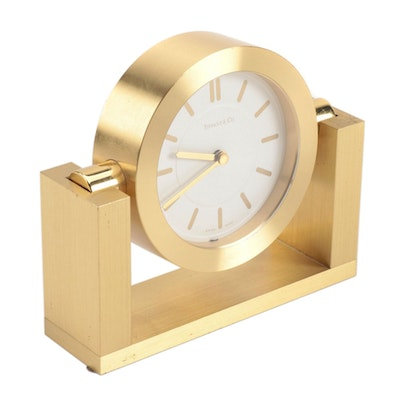 Tiffany & Co. Swiss Made Brushed Brass Desk Clock