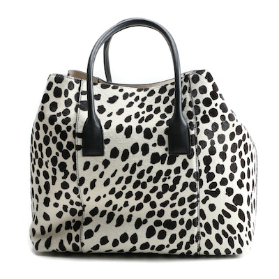 Aerin Dalmatian Dyed Calf Hair Tote Bag with Susan Lucci Signed Shopper Bag