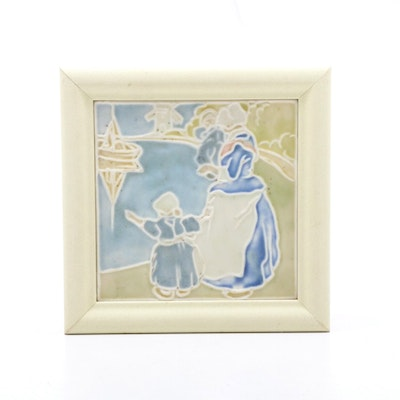 "Rookwood Pottery ""Dutch Harbor"" Tea Trivet Tile, Framed"