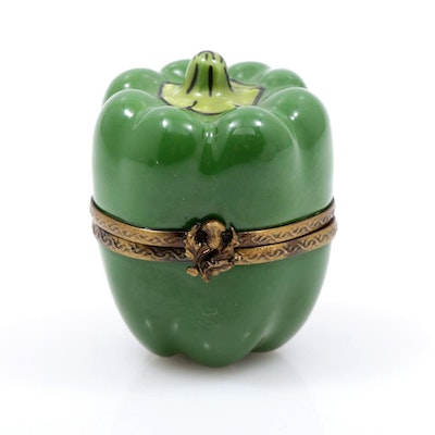 Hand-Painted Porcelain Green Pepper Limoges Box