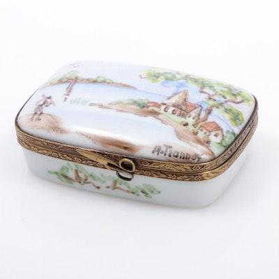 "La Gloriette Hand-Painted Porcelain ""Serene Seaside Landscape"" Limoges Box"