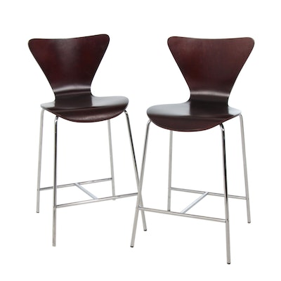 Pair of Modernist Style Chromed Metal and Bentwood Barstools