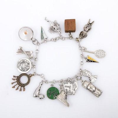 Vintage Sterling Silver Charm Bracelet Including Danecraft Charms