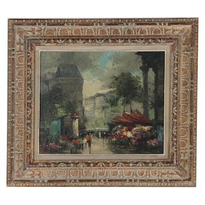 "Fernand Claver Parisian Street Scene Oil Painting ""La Madeleine"""