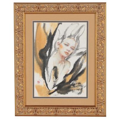 Seungeun Suh Watercolor Portrait Painting, 2011