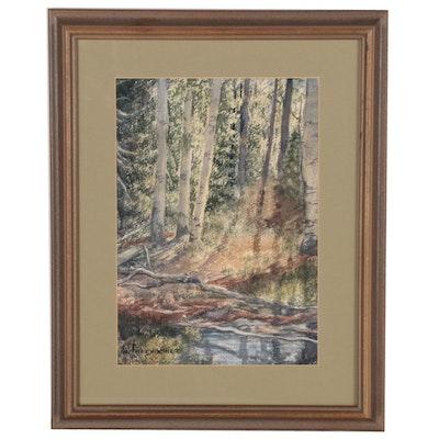 """Wanda de Turczynowicz Watercolor Painting """"Ruidosa, Deep Forest"""""""